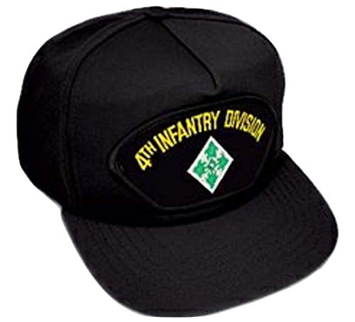 (US Army 4th Infantry Division Insignia Black Ball Cap)