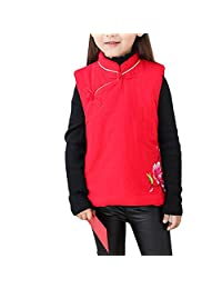 Zhhlinyuan Kids Girls Winter Cotton Tang Top Gilet Vest Waistcoa Chinese style