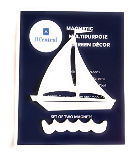 DCentral Sailboat in Water Screen Magnet Decor; for Non-Retractable Screens, Multipurpose, Double-Sided, Helps Stop Walking into Screens, Covers Small tears in Screens.Size W 6.1 X L ()