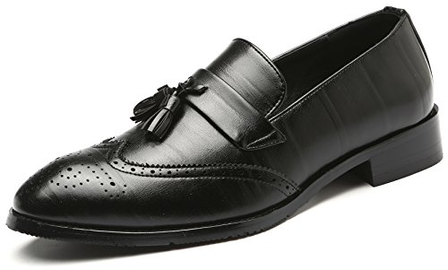NJiang Men's Formal Classic Leather Wing-tip Tassel Loafer Slip-on Casual Business Brogue Dress Shoes (9.5, Black)