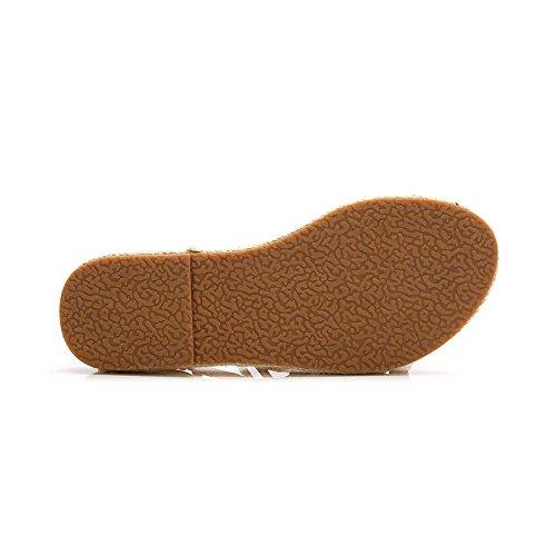 Summer Roman Female Sandals Cross Bandage Flat Bottom Retro Bohemia Beach Student Sandals Yellow xNLfyMq
