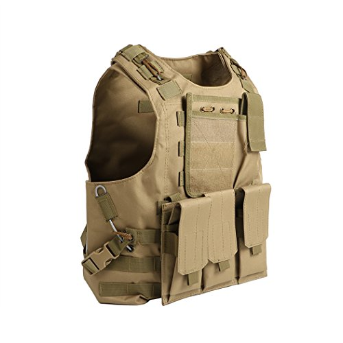 Deluxe Shooting Vest - UNHO Tactical Airsoft Vest Paintball Combat Military Swat Assault Army Police Vest for Outdoor Hunting Shooting CS games Fishing, Army Fans,CS War Game,Survival Game, Combat Training