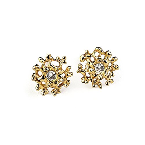 14k Yellow Gold, 2mm Natural White Diamond, Coral Organic Small Stud Earrings Posts