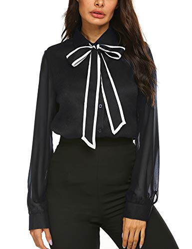 Casual Button Down Shirts Women's Loose Casual Long Sleeve Patchwork Chiffon Top Bow Tie Neck Chiffon Blouses Black
