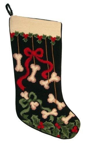 Dog Bones & Ribbons Dog Needlepoint Christmas Stocking by ED