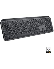 Logitech MX Keys Advanced Wireless Illuminated Keyboard, Tactile Responsive Typing, Backlighting, Bluetooth, USB-C, Apple macOS, Microsoft Windows, Linux, iOS, Android, Metal Build - Graphite