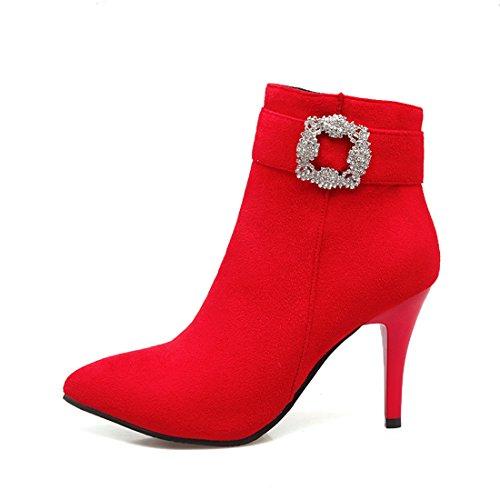Uh De Bout Pour À Bottines Cheville Strass Mode Elegantes Rouge En Talons Aiguilles Avec Femmes Pointu Moyenne 2017 rxRrqBE
