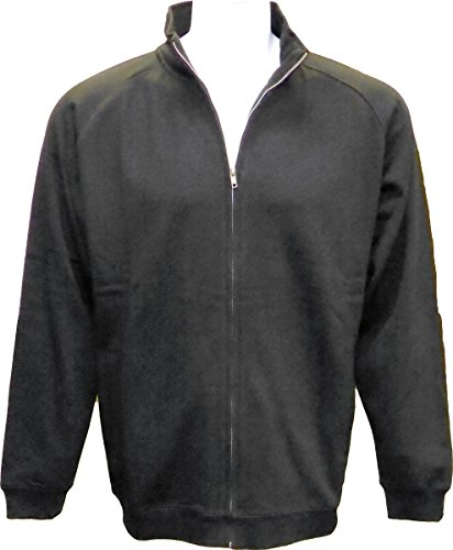 SPECIEN Adult Full Covered Zipper Fleece Sweatshirt Jacket with Mock Collar / Cadet Collar & Sides Zippers Pockets (Black, (Cadet Collar Jacket)