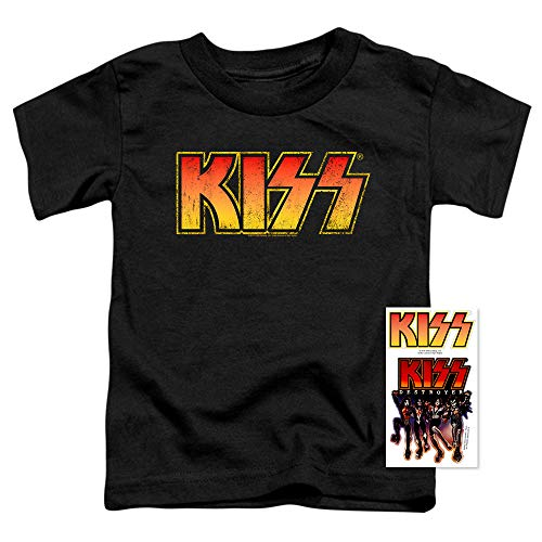 KISS Rock Music Distressed Vintage Logo Toddler T Shirt (2T) Black