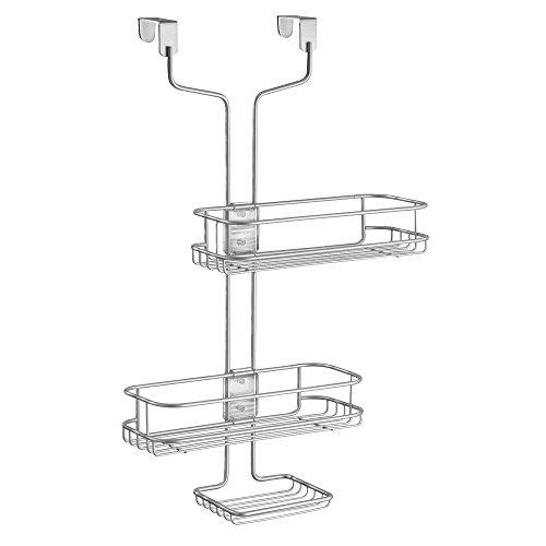 InterDesign Linea Verstellbarer Badezimmer-/Dusch-Caddy für Shampoo, Conditioner, Seife - Silberfarben