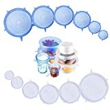 Cosyzone Silicone Stretch Lids 12 Pack Reusable Durable Container Bowl Covers Food Saver Covers Fit Various Shapes Sizes - Safe in Dishwasher, Microwave and Freezer