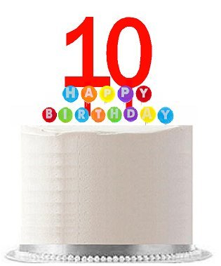Item#010WCD - Happy 10th Birthday Party Red Cake Topper & Rainbow Candle Stand Elegant Cake Decoration Topper Kit