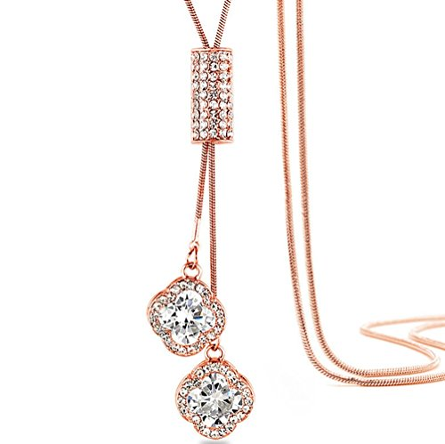 TULIP LY Women's Four-Leaf Clover Pendant Necklace Crystal Flower Tassel Pendant Long Chain Necklace (Rose Gold, Alloy-Plated-Rose Gold)