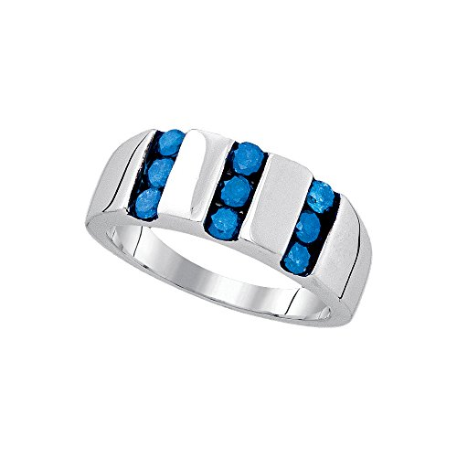 Jewels By Lux Sterling Silver Mens Round Blue Colored Channel-set Diamond Triple Row Band 1.00 Cttw (I2-I3 clarity; Blue (Round Channel Set Diamond Band)