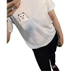 Tuesdays2 Men Women Cute Pocket Cat Casual Cotton Loose Blouse Shirt Tops T-shirt (M, White)