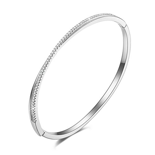 ssic Thin Cross X Inlaid Cubic Zirconia 18k White Gold plated Wedding Bangle Bracelet for Women Girls (White Gold Bangle)