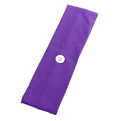 Headband with Buttons for måsk, Non Slip polyester Head Wrap for Yoga, Running, Sports, Style Hair Band Hair Hoop for Women, Men (Headband-Purple 5pcs)