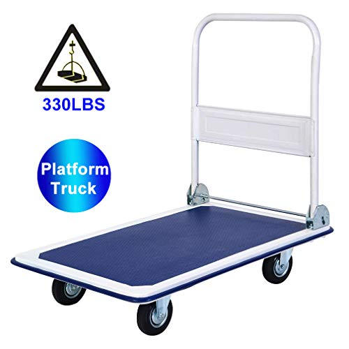 Platform Cart Folding Dolly Cart with Wheels Heavy Duty Platform Push Hand Truck Foldable Push Dolly Moving Warehouse Rolling Casters 330lbs Weight Capacity,Blue