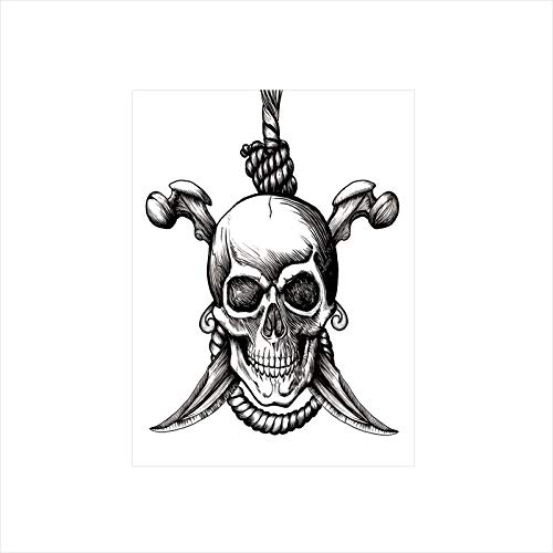 Decorative Privacy Window Film/Jolly Roger Skull with Two Knifes Bones and Hanging Rope Gothic Criminal Halloween Decorative/No-Glue Self Static Cling for Home Bedroom Bathroom Kitchen Office Decor -