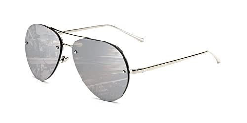 f1663350d5 GAMT Vintage Rimless Aviator Sunglasses Mirrored Clear Lens Designer for  Women Silver