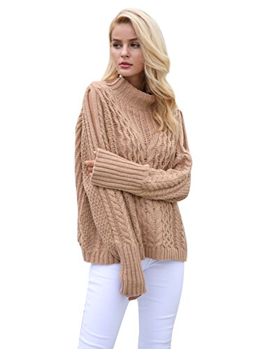 Simplee Women's Casual Cold Shoulder High Neck Ribbed Pullover Sweater Knit Jumper,Light Tan,One Size (Turtleneck Sweater Tan)