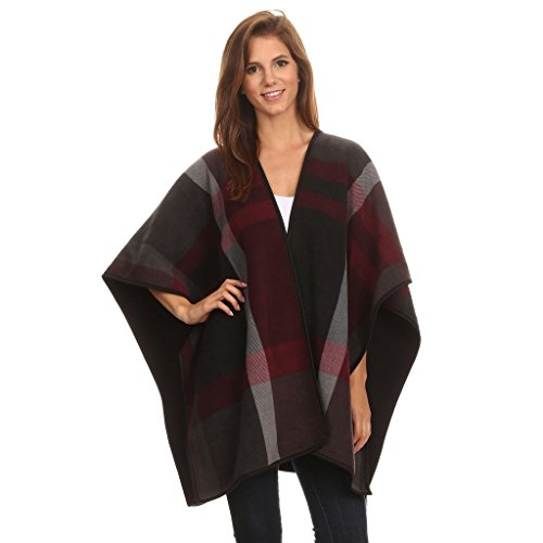 Womens Reversible Plaid Poncho by Derby Clothes