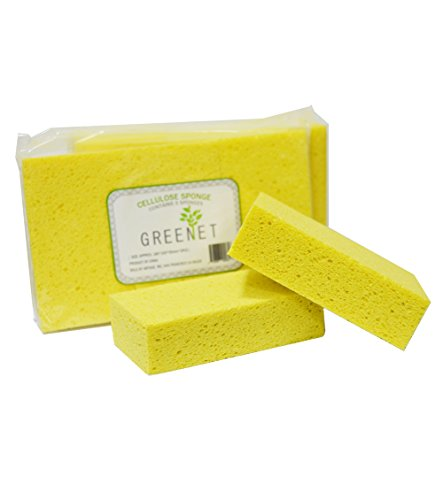 Greenet Car Wash Sponges, Large Cellulose Multi-use Scrub, Sponge for Car, Kitchen and Cleaning, Pack of 3, Car Sponges, Yellow, Environmentally Safe Biodegradable