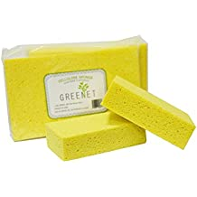 Greenet Large Cellulose Multi-Use Scrub Sponge, Car Wash, Kitchen, Cleaning Sponge, Pack of 3,Length 7.5 inches, Width 3.9 inches, Height 1.9 inches, Yellow, Environmentally Safe Biodegradable