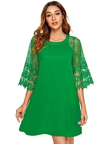 MAKEMECHIC Women's Casual Crewneck Half Sleeve Summer Chiffon Tunic Dress Light Green L