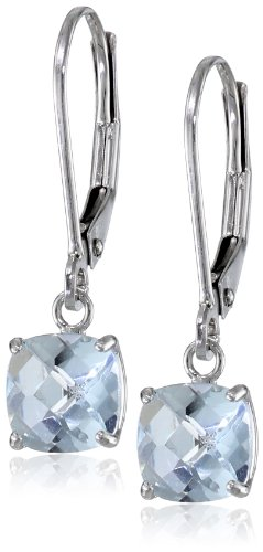 - 10k White Gold Cushion-Cut Checkerboard Aquamarine Leverback Earrings (6mm)