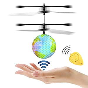 Etpark RC Flying Ball, Crystal Flashing LED Light Flying Ball RC Toy RC Infrared Induction Helicopter Heliball for Kids, Teenagers Colorful Flyings for Kid's Toy (Earth with Remote Controller)