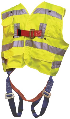 Elk River 55394 Polyester Freedom 3 D-Ring Vest Harness with Mating Buckle and Fall Indicator, Fits Medium to X-Large, Safety Green by Elk River