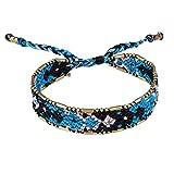 KELITCH Black/Blue/White Boho Handmade Woven Braided Friendship Bracelet Wristband