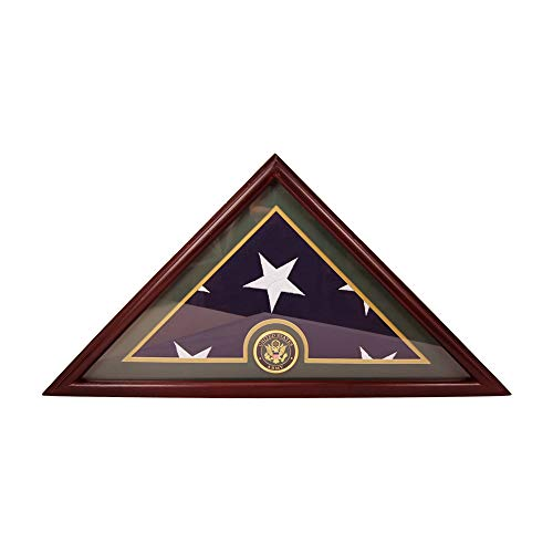 DECOMIL-Army-Flag-Display-Case-Box-5×9-Burial-Funeral-Veteran-Flag-Elegant-Display-Case-with-Flat-Base-Solid-Wood-Cherry-Finish