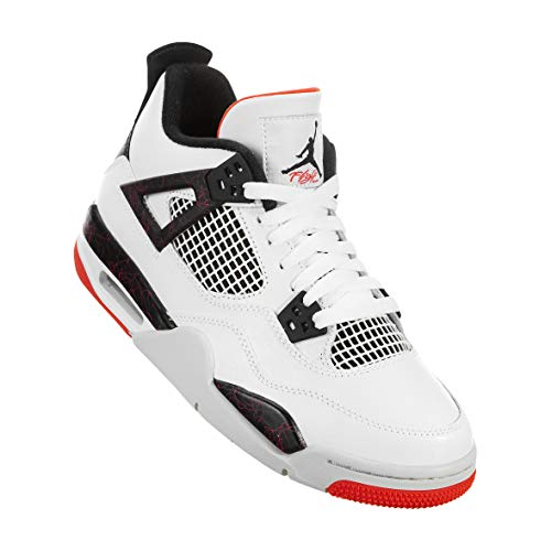 Jordan Kids Air 4 Retro Basketball Sneaker (GS) (White/Black-Bright Crimson, 7 Big Kid) (Jordan Retro 4 Boys)