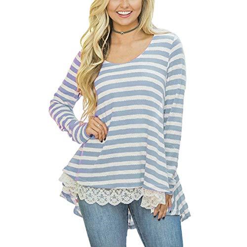 Camicia A Maniche Lunghe Donna Primaverile Autunno Eleganti Moda Casual Vintage Blusa Manica Lunga Rotondo Collo Stripe Giuntura Pizzo Irregolare Asimmetrica Tops Camicetta Blau