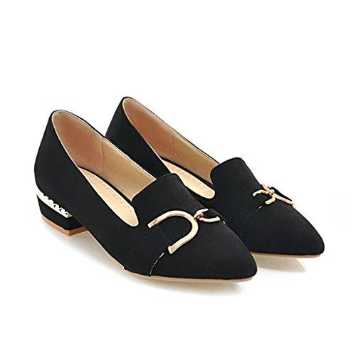 Señaló Bloque Qin Talón Superficial Boca amp;X del Zapatos Toe Negro Mujeres nbsp;Las xTwwYCI6q