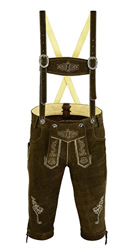 Bundhosen Costume (Trends Men's Bavarian Trachten Lederhosen Leather Shorts 30 Dark Brown)
