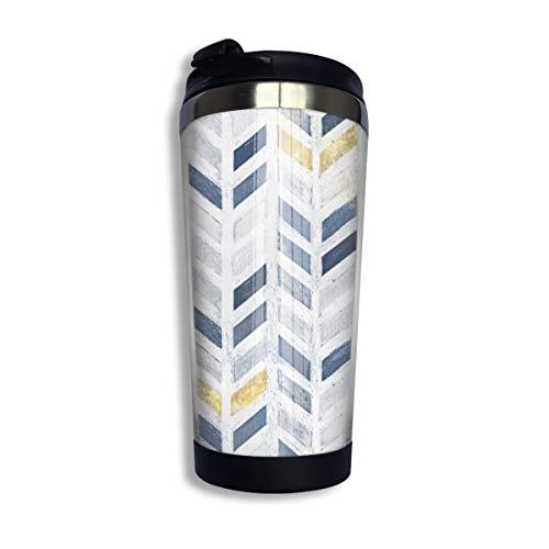 Herringbone pattern indigo gold canvas Double Wall Vacuum Insulated Stainless Steel Travel Mug cup Tumbler 13.5 OZ Tea Mug