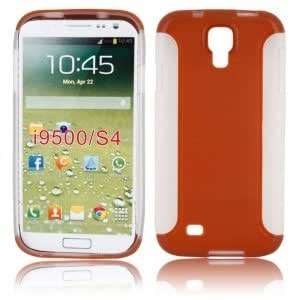 Two Pieces Set TPU + PC Protective Case for Samsung i9500 Brown
