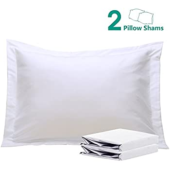 "NTBAY 100% Brushed Microfiber Pillow Shams Set of 2, Soft and Cozy, Wrinkle, Fade, Stain Resistant, 20""x 26"", White"