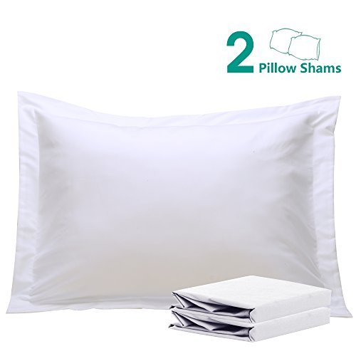 """NTBAY 100% Brushed Microfiber Standard Pillow Shams Set of 2, Soft and Cozy, Wrinkle, Fade, Stain Resistant, 20""""x 26"""", White"""