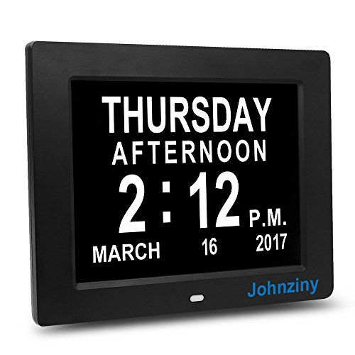 Johnziny Digital Calendar Day Clock- 8 Alarms