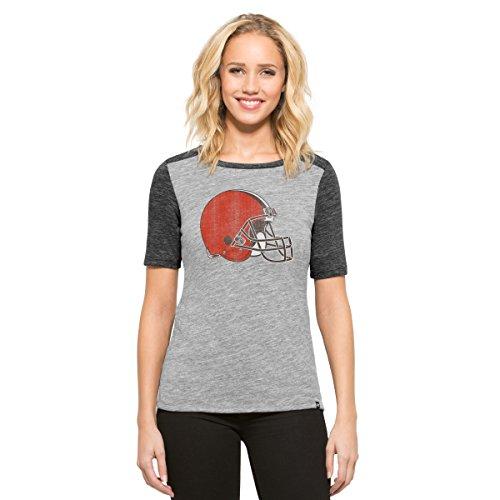 ('47 NFL Cleveland Browns Women's Empire Tee, Vintage Grey, Medium)