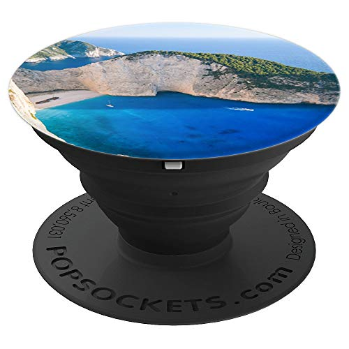 Ocean Blue Water White Cliffs Greece - PopSockets Grip and Stand for Phones and Tablets ()