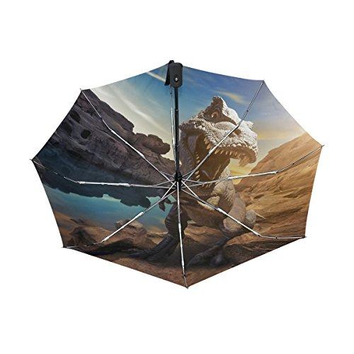 Tyrannosaurus Rex Dinosaur Pattern Print UPF 50+ Anti-UV Parasol Waterproof Windproof Reverse 3 Folds Auto Open Close Lightweight Umbrella (Up Close Vintage Blouse)