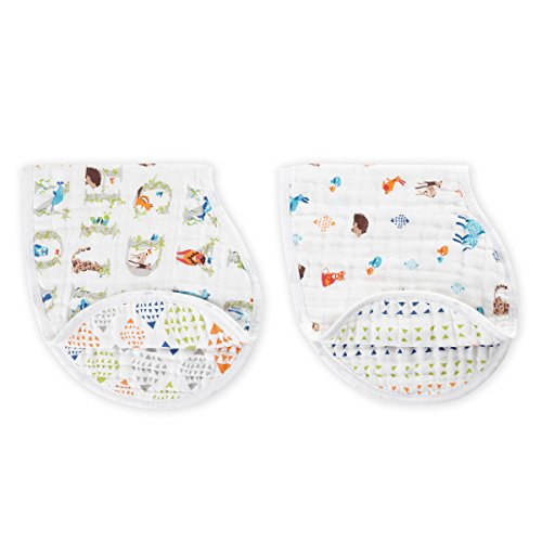 """aden + anais Burpy Bib, 100% Cotton Muslin, Soft Absorbent 4 Layers, Multi-Use Burp Cloth and Bib, 22.5"""" X 11"""", 2 Pack, Paper Tales, Alphabet and Animals"""