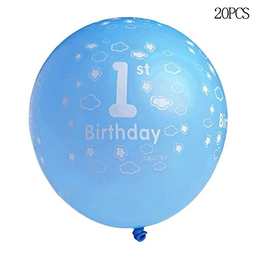 20pcs Printed Ballons First Birthday Party Decor (Blue) - 2
