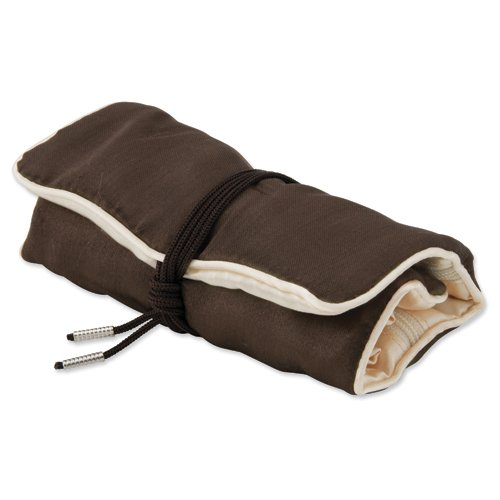 Pack Of 5, Dark Brown With Ivory Trim Jewelry Roll