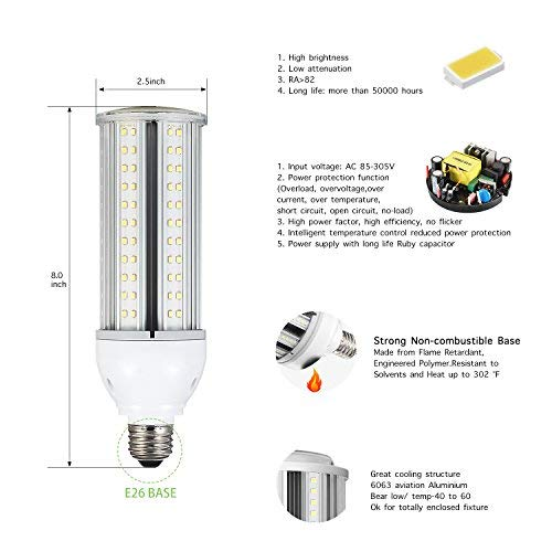 24W LED Corn Light Bulb E26 Medium Screw Base, 5000K Daylight 3120 lm CFL HID HPS Metal Halide Replacement(75-100W) for Indoor Outdoor Street and Area Light Post Top Garage Garden Light Super Bright
